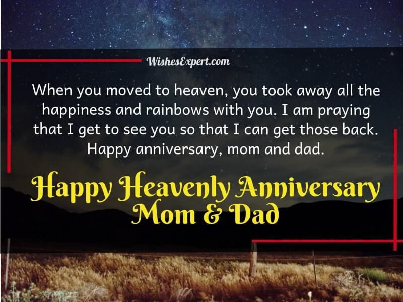 Happy anniversary to deceased parents In heaven