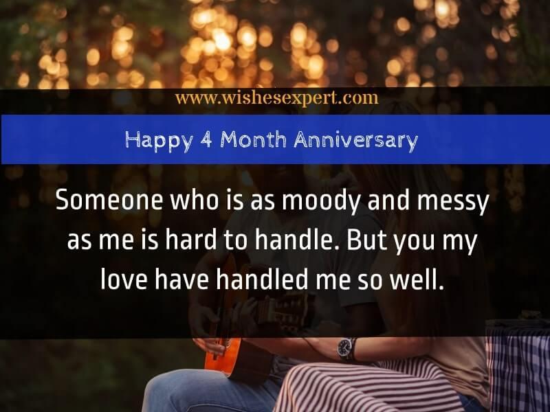 4 month anniversary wishes
