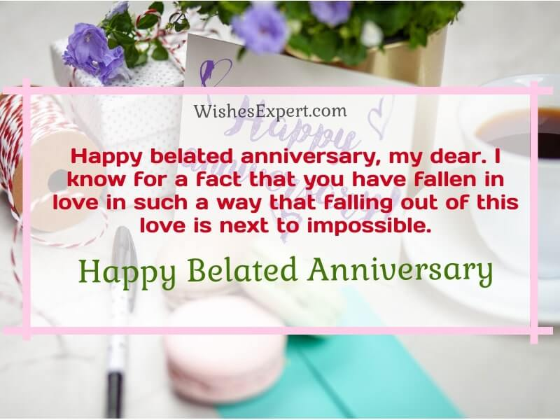 Belated anniversary message